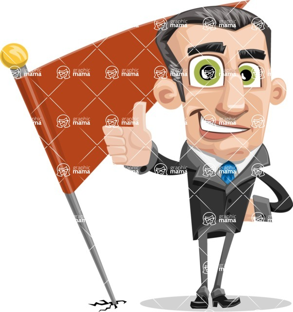 Funny Businessman Cartoon Vector Character AKA Frank - Checkpoint