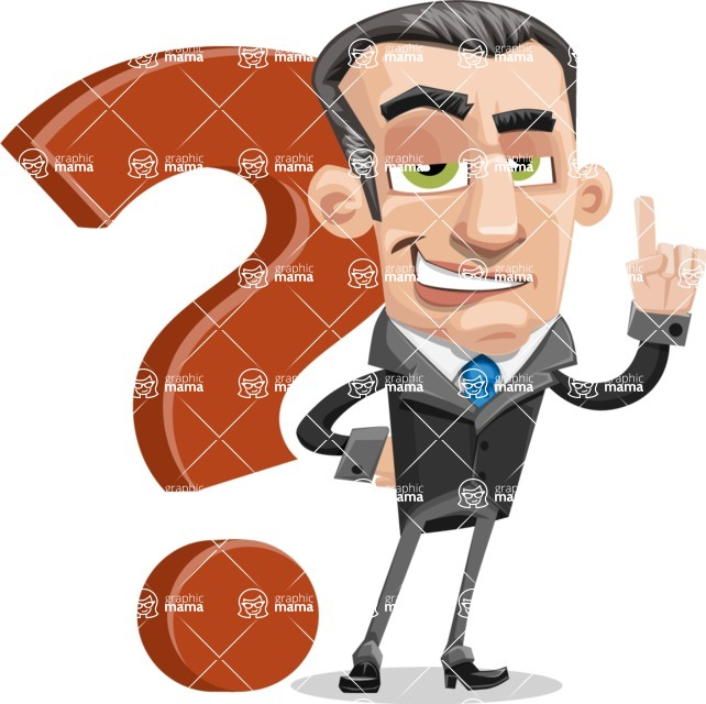 Funny Businessman Cartoon Vector Character AKA Frank - Question
