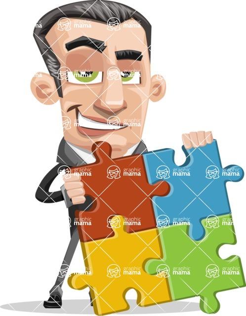 Funny Businessman Cartoon Vector Character AKA Frank - Puzzle