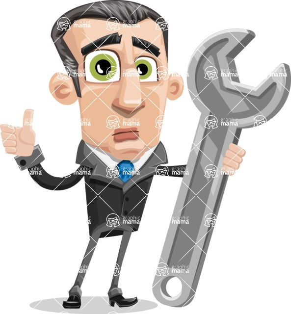 Funny Businessman Cartoon Vector Character AKA Frank - Repair