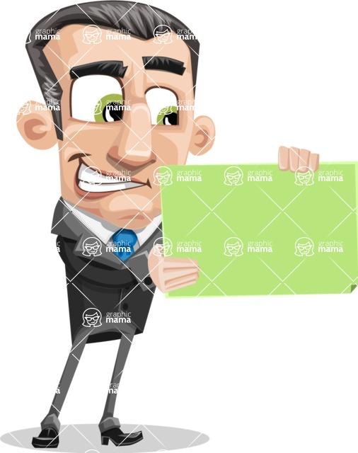 Funny Businessman Cartoon Vector Character AKA Frank - Sign 2