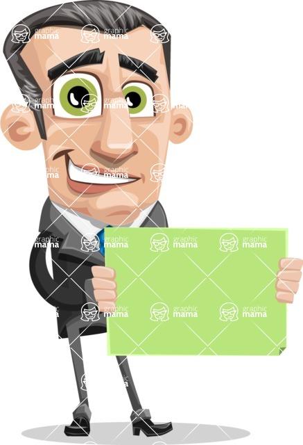 Funny Businessman Cartoon Vector Character AKA Frank - Sign 4