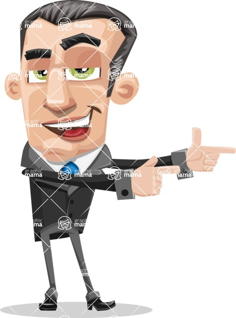 Funny Businessman Cartoon Vector Character AKA Frank - Point