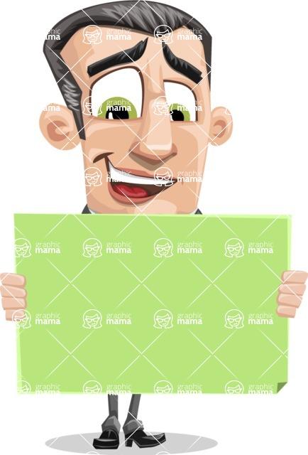 Funny Businessman Cartoon Vector Character AKA Frank - Sign 5