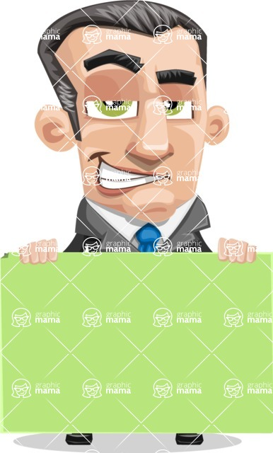 Funny Businessman Cartoon Vector Character AKA Frank - Sign 6