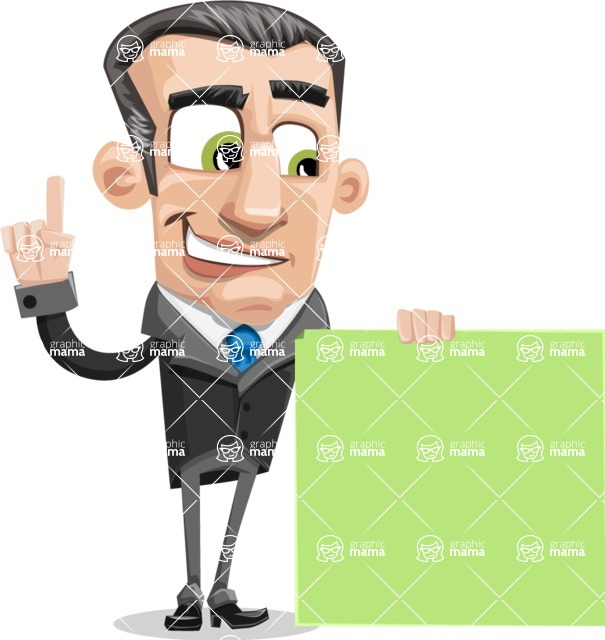 Funny Businessman Cartoon Vector Character AKA Frank - Sign 7