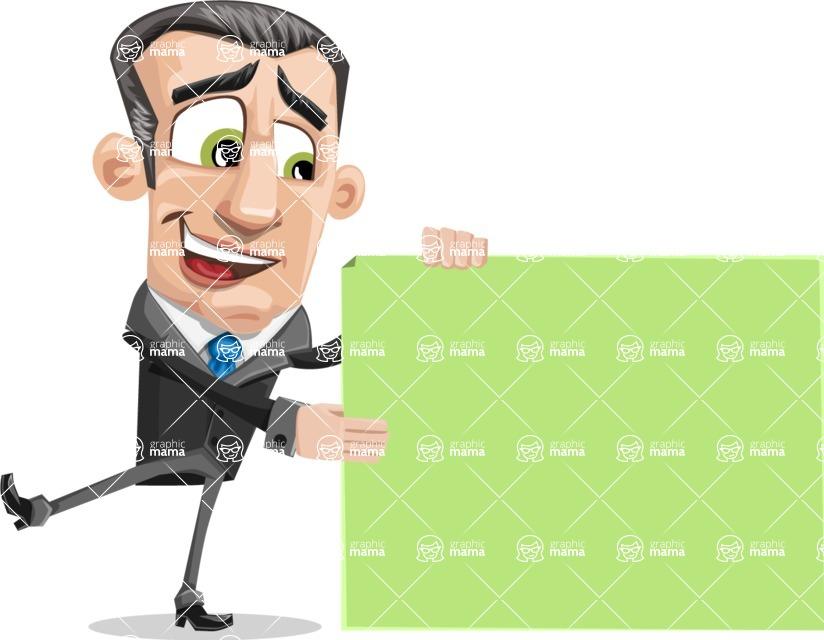 Funny Businessman Cartoon Vector Character AKA Frank - Sign 8