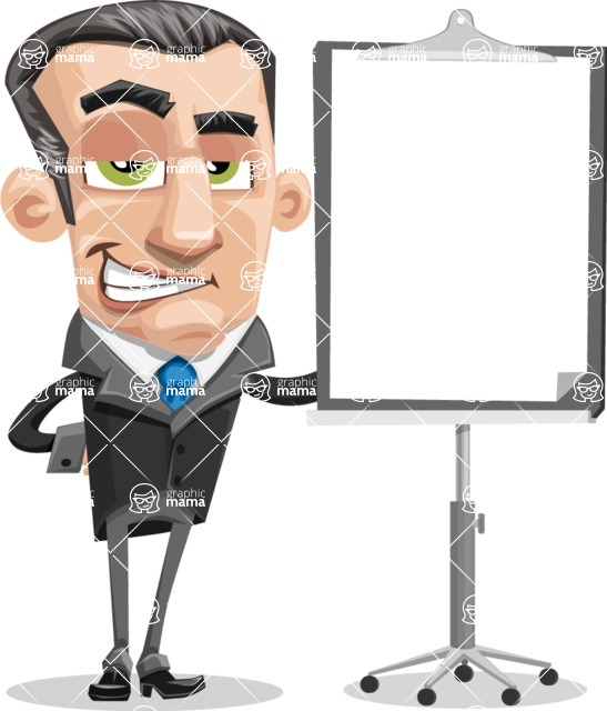 Funny Businessman Cartoon Vector Character AKA Frank - Presentation 1