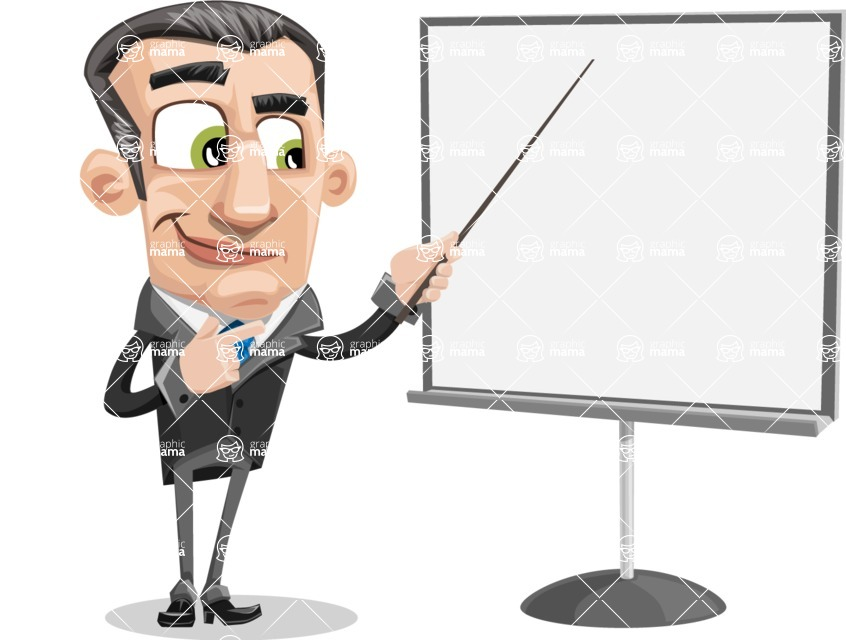 Funny Businessman Cartoon Vector Character AKA Frank - Presentation 2