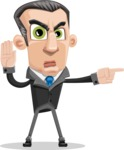 Funny Businessman Cartoon Vector Character AKA Frank - Direct Attention