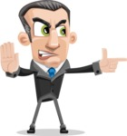 Funny Businessman Cartoon Vector Character AKA Frank - Direct Attention 2