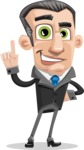 Funny Businessman Cartoon Vector Character AKA Frank - Attention