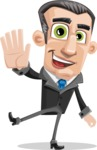 Funny Businessman Cartoon Vector Character AKA Frank - Hello