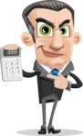 Funny Businessman Cartoon Vector Character AKA Frank - Calculator