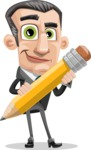 Funny Businessman Cartoon Vector Character AKA Frank - Pencil