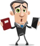Funny Businessman Cartoon Vector Character AKA Frank - Book and iPad