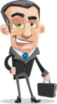 Funny Businessman Cartoon Vector Character AKA Frank - Brifcase 1