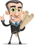 Funny Businessman Cartoon Vector Character AKA Frank - Plans
