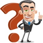 Funny Businessman Cartoon Vector Character AKA Frank - Question