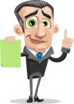 Funny Businessman Cartoon Vector Character AKA Frank - Sign 3