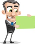 Funny Businessman Cartoon Vector Character AKA Frank - Sign 2