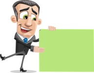 Funny Businessman Cartoon Vector Character AKA Frank - Sign 8