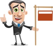Funny Businessman Cartoon Vector Character AKA Frank - Sign 9