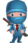 Businessman dressed as Ninja Cartoon Vector Character AKA Hideki - Normal