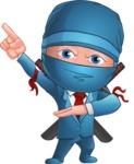 Businessman dressed as Ninja Cartoon Vector Character AKA Hideki - Point 2