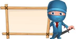 Businessman dressed as Ninja Cartoon Vector Character AKA Hideki - Presentation 7