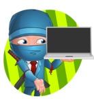 Businessman dressed as Ninja Cartoon Vector Character AKA Hideki - Shape 1