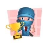 Businessman dressed as Ninja Cartoon Vector Character AKA Hideki - Shape 2