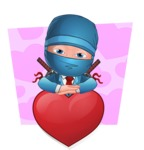 Businessman dressed as Ninja Cartoon Vector Character AKA Hideki - Shape 4