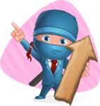 Businessman dressed as Ninja Cartoon Vector Character AKA Hideki - Shape 5