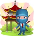 Businessman dressed as Ninja Cartoon Vector Character AKA Hideki - Shape 6
