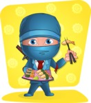 Businessman dressed as Ninja Cartoon Vector Character AKA Hideki - Shape 7
