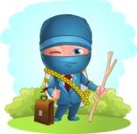 Businessman dressed as Ninja Cartoon Vector Character AKA Hideki - Shape 8