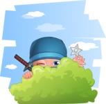 Businessman dressed as Ninja Cartoon Vector Character AKA Hideki - Shape 9