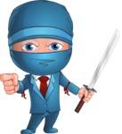 Businessman dressed as Ninja Cartoon Vector Character AKA Hideki - Direct Attention 1