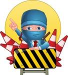 Businessman dressed as Ninja Cartoon Vector Character AKA Hideki - Shape 10