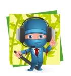 Businessman dressed as Ninja Cartoon Vector Character AKA Hideki - Shape 11