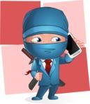 Businessman dressed as Ninja Cartoon Vector Character AKA Hideki - Shape 12