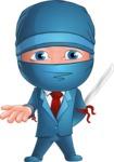 Businessman dressed as Ninja Cartoon Vector Character AKA Hideki - Sorry