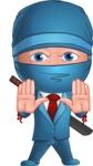Businessman dressed as Ninja Cartoon Vector Character AKA Hideki - Stop 1
