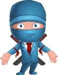 Businessman dressed as Ninja Cartoon Vector Character AKA Hideki - Stunned