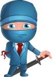 Businessman dressed as Ninja Cartoon Vector Character AKA Hideki - Sad 1