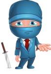 Businessman dressed as Ninja Cartoon Vector Character AKA Hideki - Sad 2