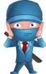 Businessman dressed as Ninja Cartoon Vector Character AKA Hideki - Shocked