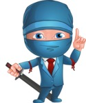 Businessman dressed as Ninja Cartoon Vector Character AKA Hideki - Attention