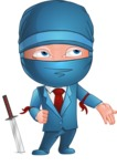 Businessman dressed as Ninja Cartoon Vector Character AKA Hideki - Roll Eyes
